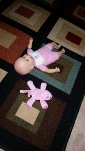 Her baby Emmie and her wubbanub