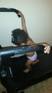 Walking on Nana's treadmill!