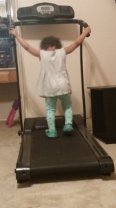 loving to walk on Nana's treadmill