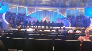 Lakewood Church-the choir prays together before the service starts