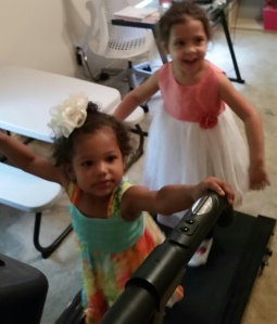 Brielle and Emma on the treadmill.
