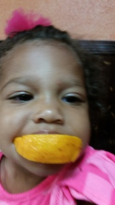 Brielle with an orange!