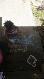 Chalk time with Veronica and the kids before heading to Denton!