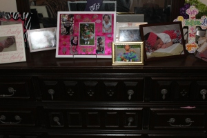 Some of my favorite pics of Brielle on the dresser that used to belong to my grandparents