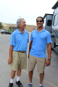 My brother and my mom's Dad, Joe wore the exact same outfit when we met up with them in their RV. So random!