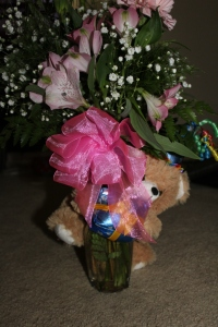 Beautiful flowers and bear Shane got me for my birthday!